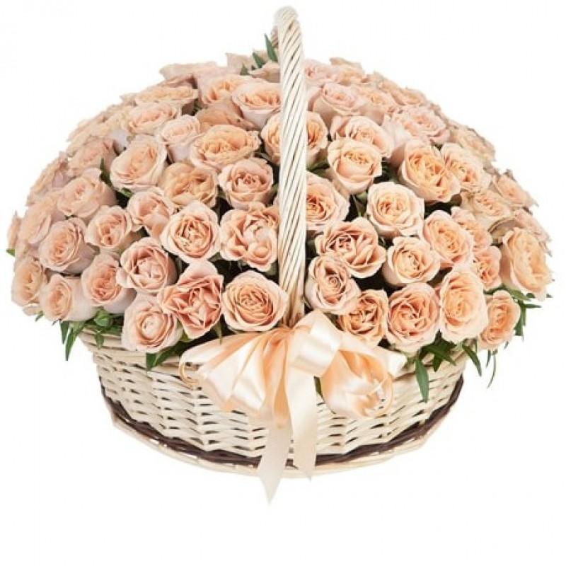 101 роза Капучино в корзине