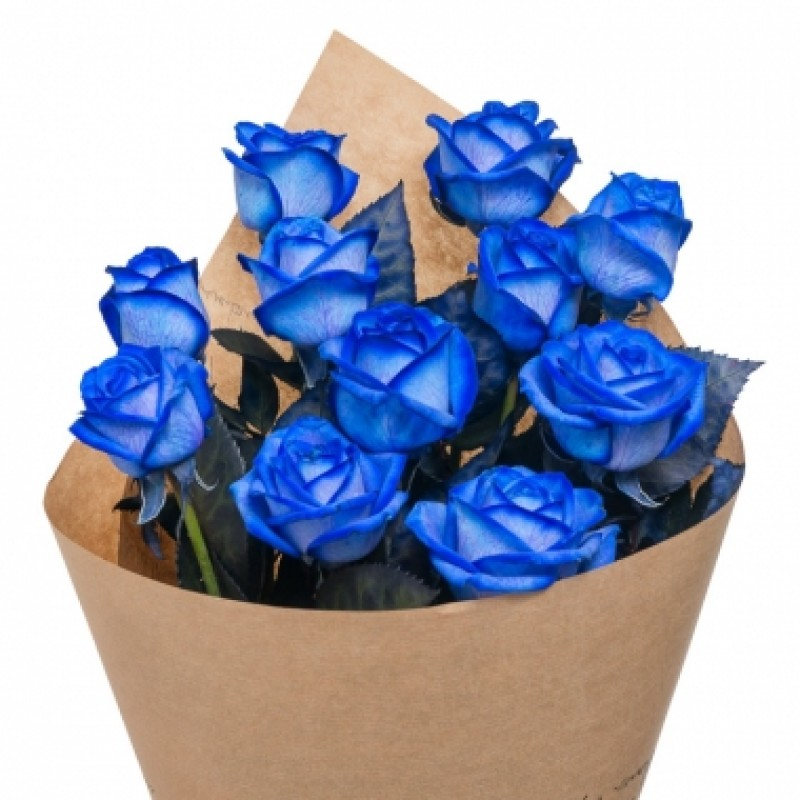 9 синих роз в крафте