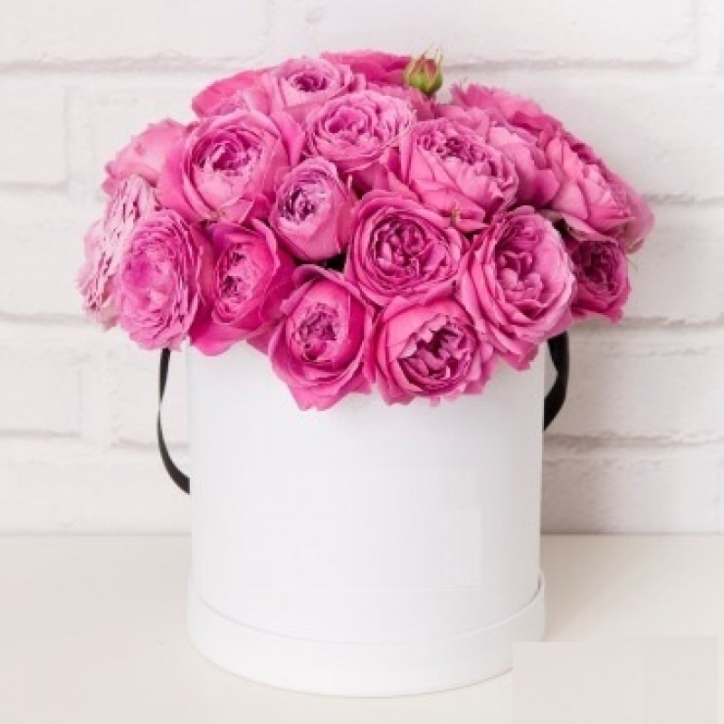 Розы Мисти Баблз в шляпной коробке