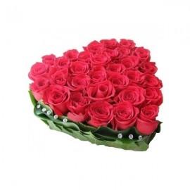 Сердечко из красных роз