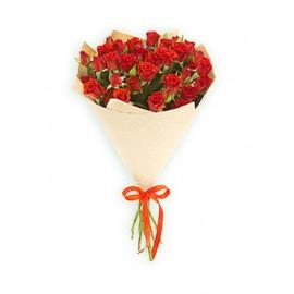 19 кустовых роз в крафте