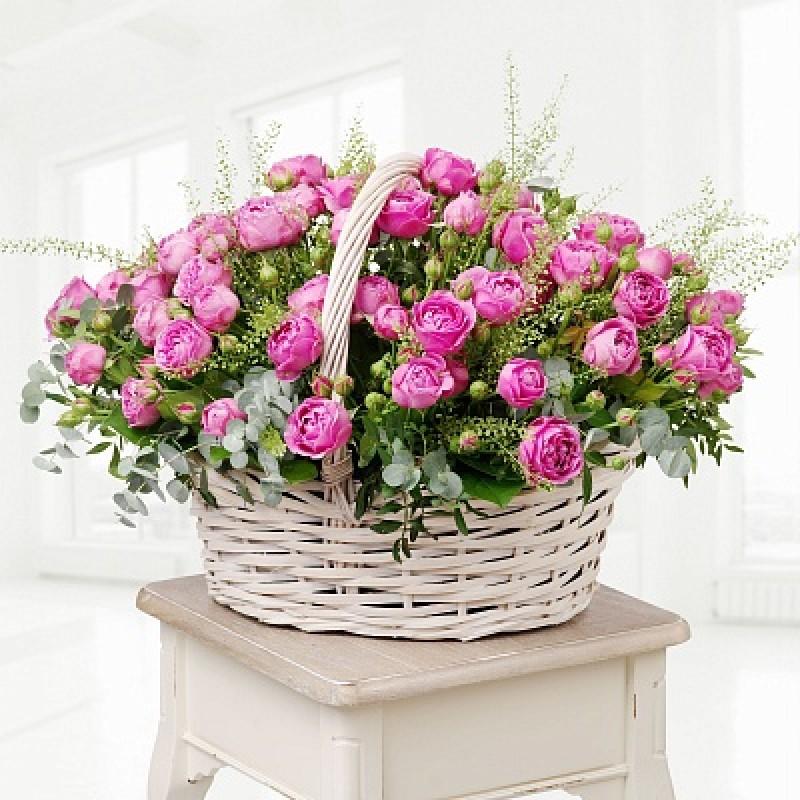 51 роза Мисти в корзине