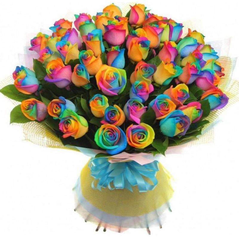 Букет из 51 радужной розы
