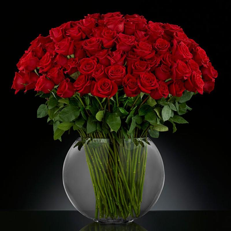 101 роза Фридом в вазе
